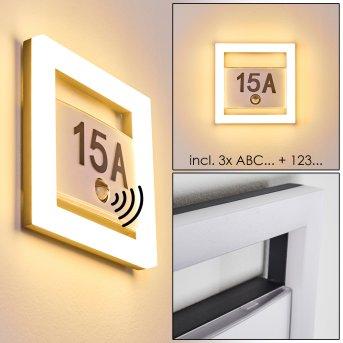Número de casa iluminado Louisville LED Gris, 1 luz, Sensor de movimiento