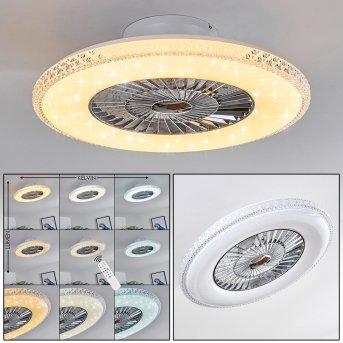Piacenza Ventilador de techo LED Cromo, Blanca, 1 luz, Mando a distancia