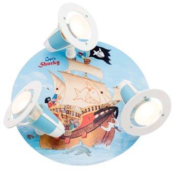 Elobra SEE Plafón circular con focos Azul, 3 luces