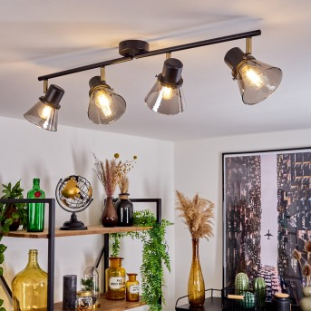 Abel Lámpara de Techo Negro-dorado, 4 luces
