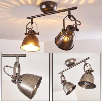 Nanlia Lámpara de Techo Gris, Plata, 2 luces