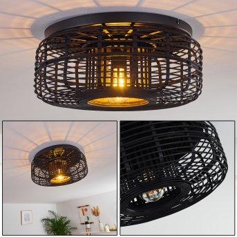 Mongolei Lámpara de Techo Negro, 1 luz