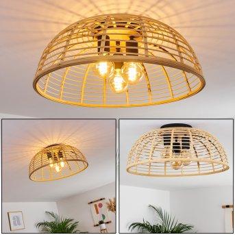 Mongolei Lámpara de Techo Negro, 3 luces