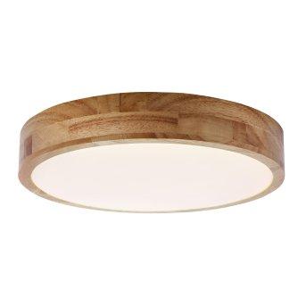 Brilliant Slimline Lámpara de Techo LED Blanca, Madera oscura, 1 luz, Mando a distancia