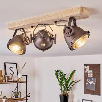 Herford Lámpara de Techo Cobre, Madera oscura, 3 luces