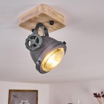 Herford Lámpara de Techo Gris, Madera clara, 1 luz
