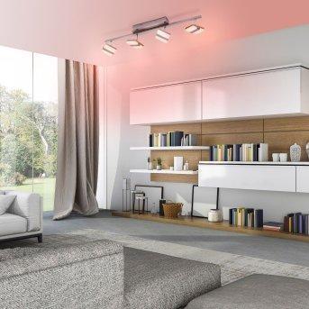 Leuchten-Direkt LOLAsmart-SABI Lámpara de Techo LED Níquel-mate, 4 luces, Mando a distancia, Cambia de color
