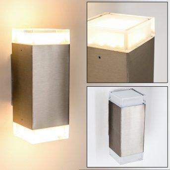 Tibor Aplique para exterior LED Acero inoxidable, 2 luces