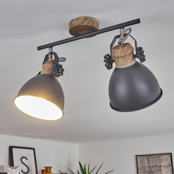 Banjul Lámpara de Techo Gris, Madera clara, 2 luces