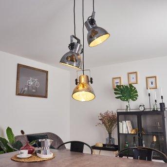 Hora Lámpara Colgante Negro, Madera oscura, 3 luces