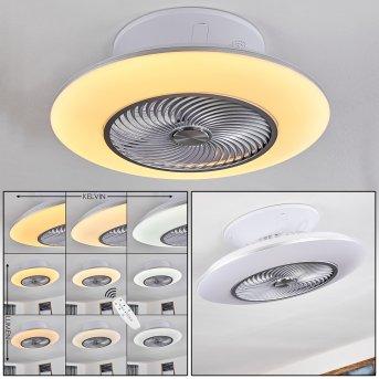 Nagoya Ventilador de techo LED Blanca, 1 luz, Mando a distancia