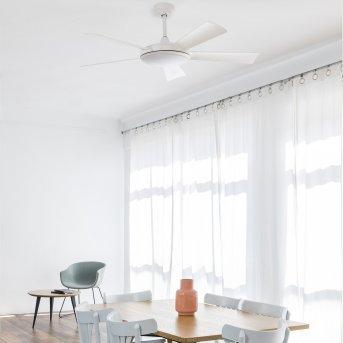 Faro Barcelona Saona Ventilador de techo LED Blanca, 1 luz, Mando a distancia