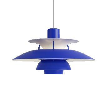 Louis Poulsen PH5 Lámpara Colgante Blanca, Azul, 1 luz