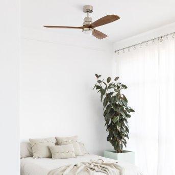 Faro Barcelona Lantau Ventilador de techo LED Níquel-mate, 1 luz, Mando a distancia