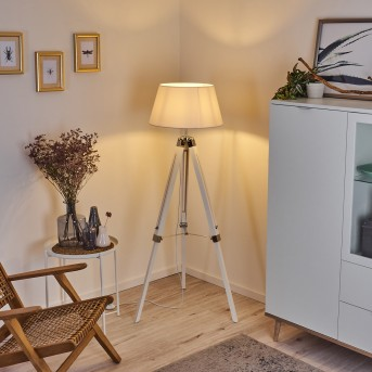 Lekerika Lámpara de Pie Cromo, Blanca, 1 luz