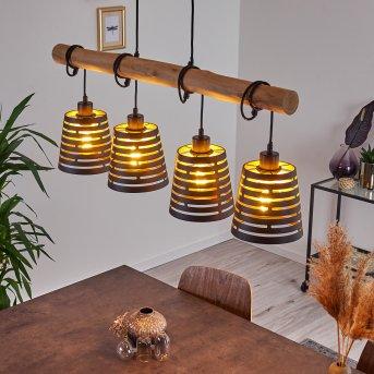 Strathmore Lámpara Colgante Negro, Madera clara, 4 luces