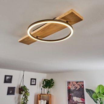 Pompu Lámpara de Techo LED Negro, Madera clara, 1 luz