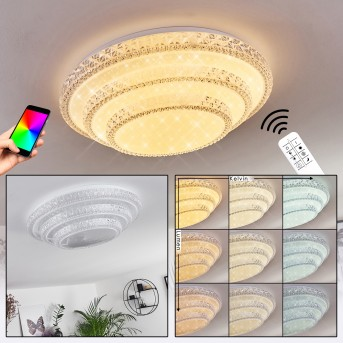 Roseto Lámpara de Techo LED Blanca, Transparente, claro, 1 luz, Mando a distancia