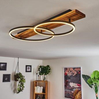 Pompu Lámpara de Techo LED Negro, Madera oscura, 2 luces