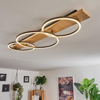 Pompu Lámpara de Techo LED Negro, Madera clara, 3 luces
