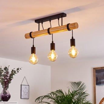 Yaak Lámpara de Techo Negro, Madera clara, 3 luces
