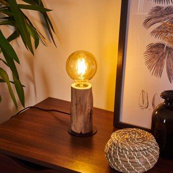 Pozos Lámpara de mesa Negro, Madera clara, 1 luz
