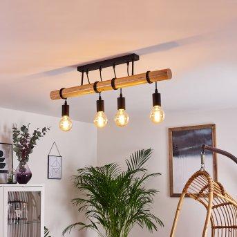 Yaak Lámpara de Techo Negro, Madera clara, 4 luces