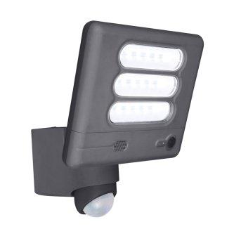 Aplique para exterior Lutec ESA CAM LED Antracita, 1 luz, Sensor de movimiento