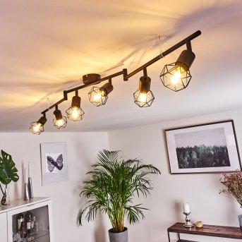 Baripada Lámpara de Techo Negro, 6 luces