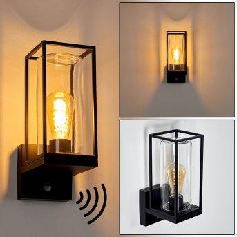 Palanga Aplique para exterior Negro, 1 luz, Sensor de movimiento