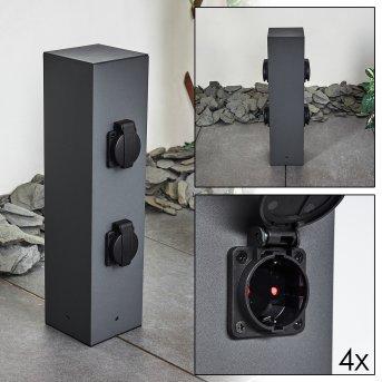 Severino Columna caja de enchufes Negro