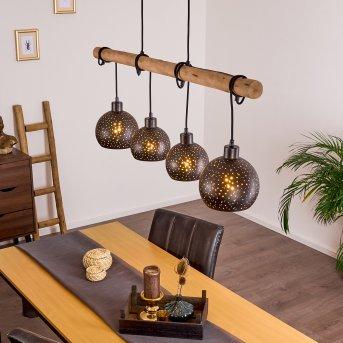 Imana Lámpara Colgante Negro, Madera clara, 4 luces