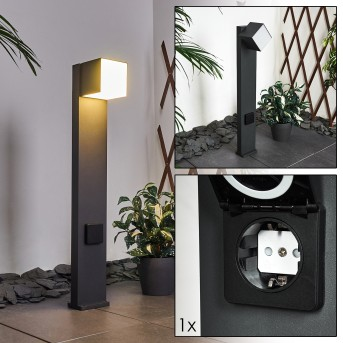 Swanek Poste de Jardín LED Negro, 1 luz