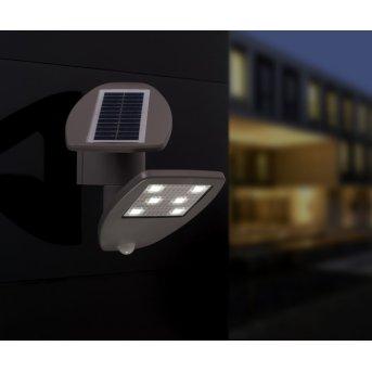 Lutec ZETA Aplique para exterior LED Gris, 1 luz, Sensor de movimiento