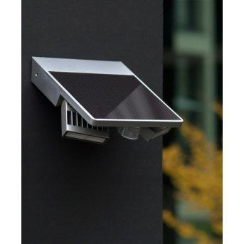 Lutec TILLY Aplique para exterior LED Plata, 1 luz, Sensor de movimiento