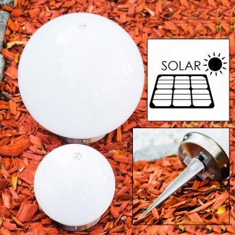 Conjunto lámparas esféricas solar LED Acero inoxidable, 2 luces
