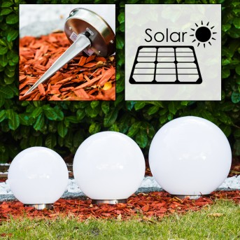 Solar Lámpara esféricas LED Acero inoxidable, 2 luces