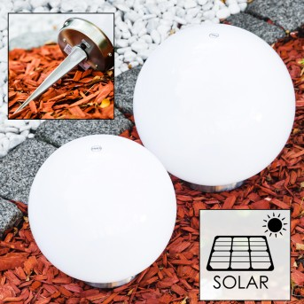 Conjunto lámparas esféricas solar LED Acero inoxidable, 2 luces