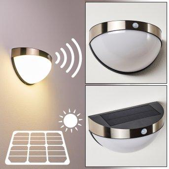 Basra Lámpara solar LED Cromo, 1 luz, Sensor de movimiento