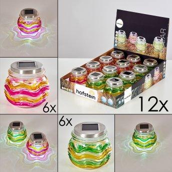 Raven Set de lámparas solares 12er LED Amarillo, Verde, Naranja, 1 luz