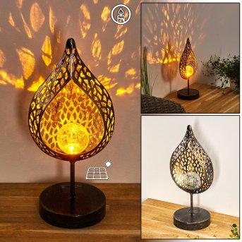 Protaras Lámpara solar LED Negro-dorado, 1 luz