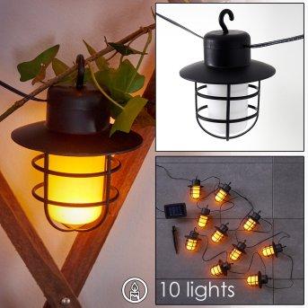 Pozzuoli Tira de luces LED Negro, Blanca, 10 luces
