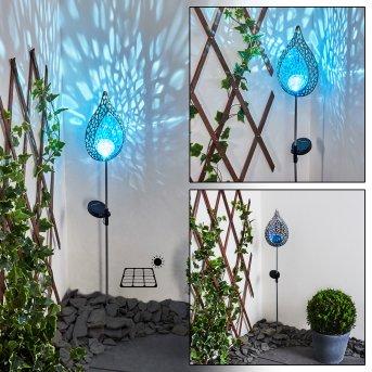 Rovinj Lámpara solar LED Azul, Plata, 1 luz