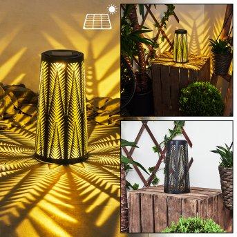 Météo Lámpara solar LED Negro, dorado, 1 luz