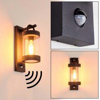 Fulham Aplique para exterior Negro, 1 luz, Sensor de movimiento