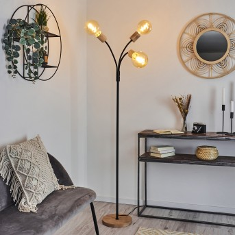 Vasanello Lámpara de Pie Negro, Marrón, 3 luces