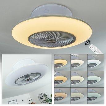 Chaville Ventilador de techo LED Blanca, 1 luz, Mando a distancia