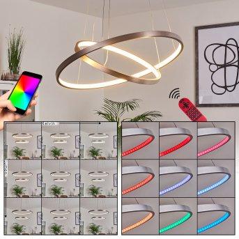 Canisteo Lámpara Colgante LED Plata, 2 luces, Mando a distancia, Cambia de color