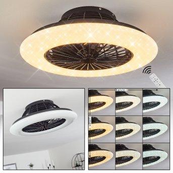 Piraeus Ventilador de techo LED Negro, 1 luz, Mando a distancia