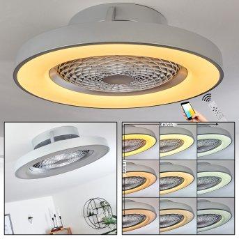 Penon Ventilador de techo LED Plata, 1 luz, Mando a distancia